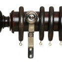 Dark Stain Wood Curtain Pole Set