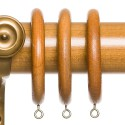 Light Stain Wood Curtain Pole Rings